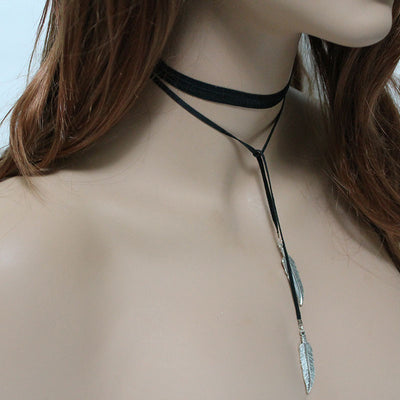 Feather Boho Leather Lariat