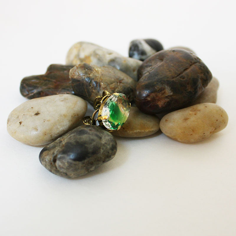 Green Clear Crystal Gold Filigree Adjustable Ring
