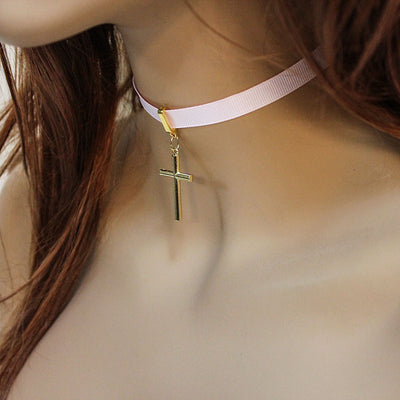 large gold cross pink ribbon choker