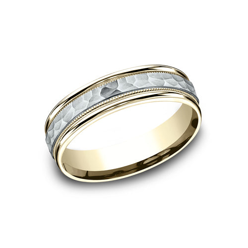 Benchmark Comfort Fit Hammered-Finish Center w/ Milgrain & High Polished Edge Wedding Band CF156308