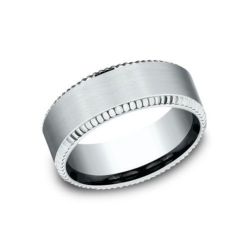 Benchmark Comfort Fit Classic Satin Center w/ Beaded Edge Wedding Band CF188527