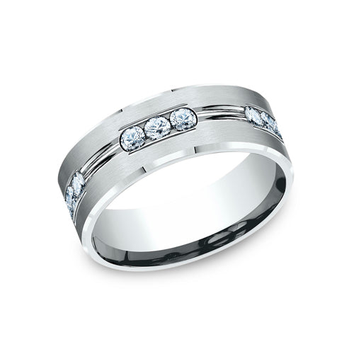 Benchmark Comfort Fit Satin-Finished Etched Channel Set Diamond Eternity Wedding Band CF528533