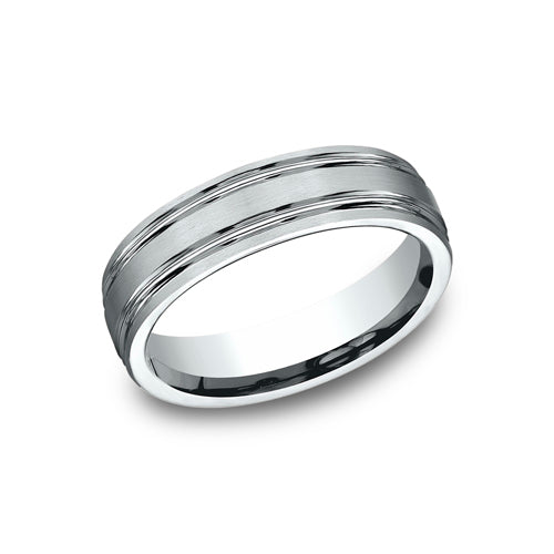 Benchmark Comfort Fit Satin-Finish w/ Two High Polished Parallel Grooves Wedding Band 	CF56444