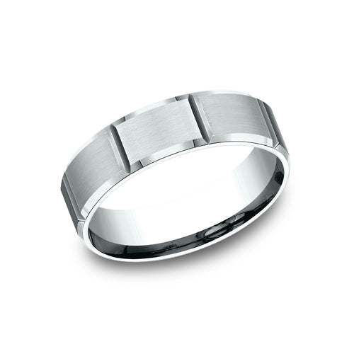 Benchmark Comfort Fit Satin-Finished w/ Vertical Groove Design Wedding Band CF66449