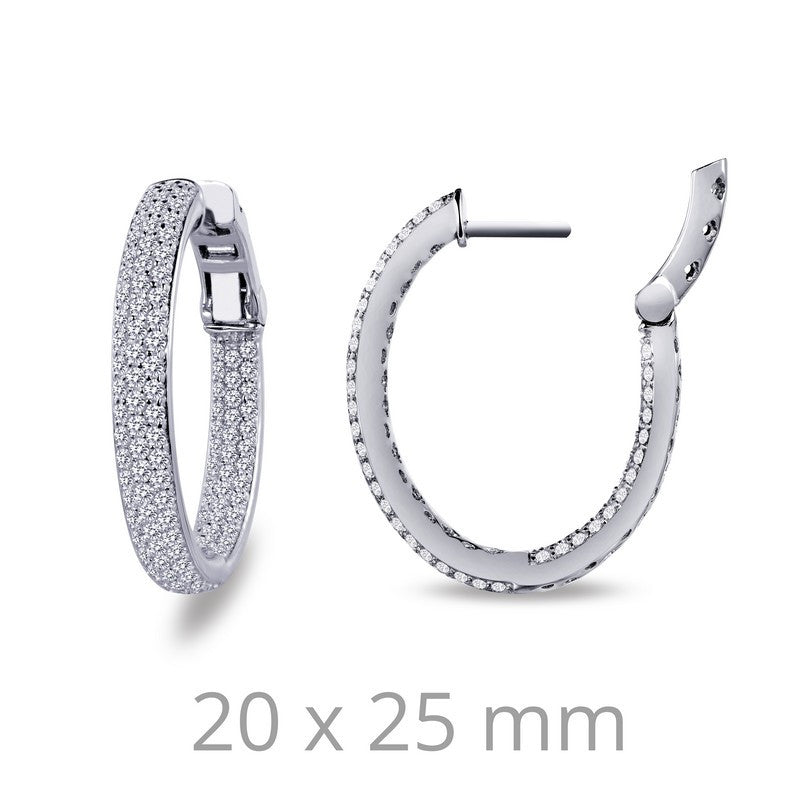 Lafonn Signature Lassaire Simulated Diamond Oval 20x25mm Inside & Out Hoop Earrings E3028CLP