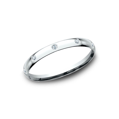 Benchmark Comfort Fit 2mm Burnished Set Diamond Wedding Band LCF120D