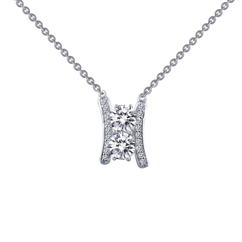 Lafonn Signature Lassaire Simulated Diamond Two Large Stone Necklace N0067CLP