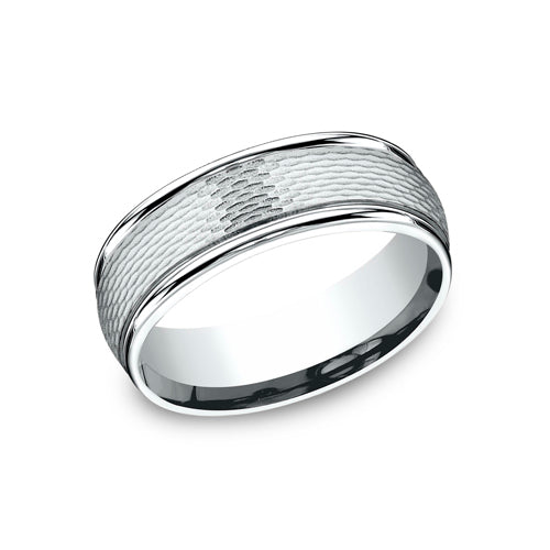 Benchmark Comfort Fit Mesh Center Pattern & Round Polished Edges Wedding Band RECF87547