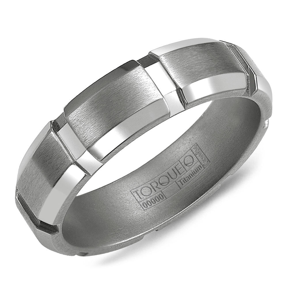 Torque Titanium Collection 6MM Wedding Band with Brushed Finish & Architechtural Detailing TI-0061-R10