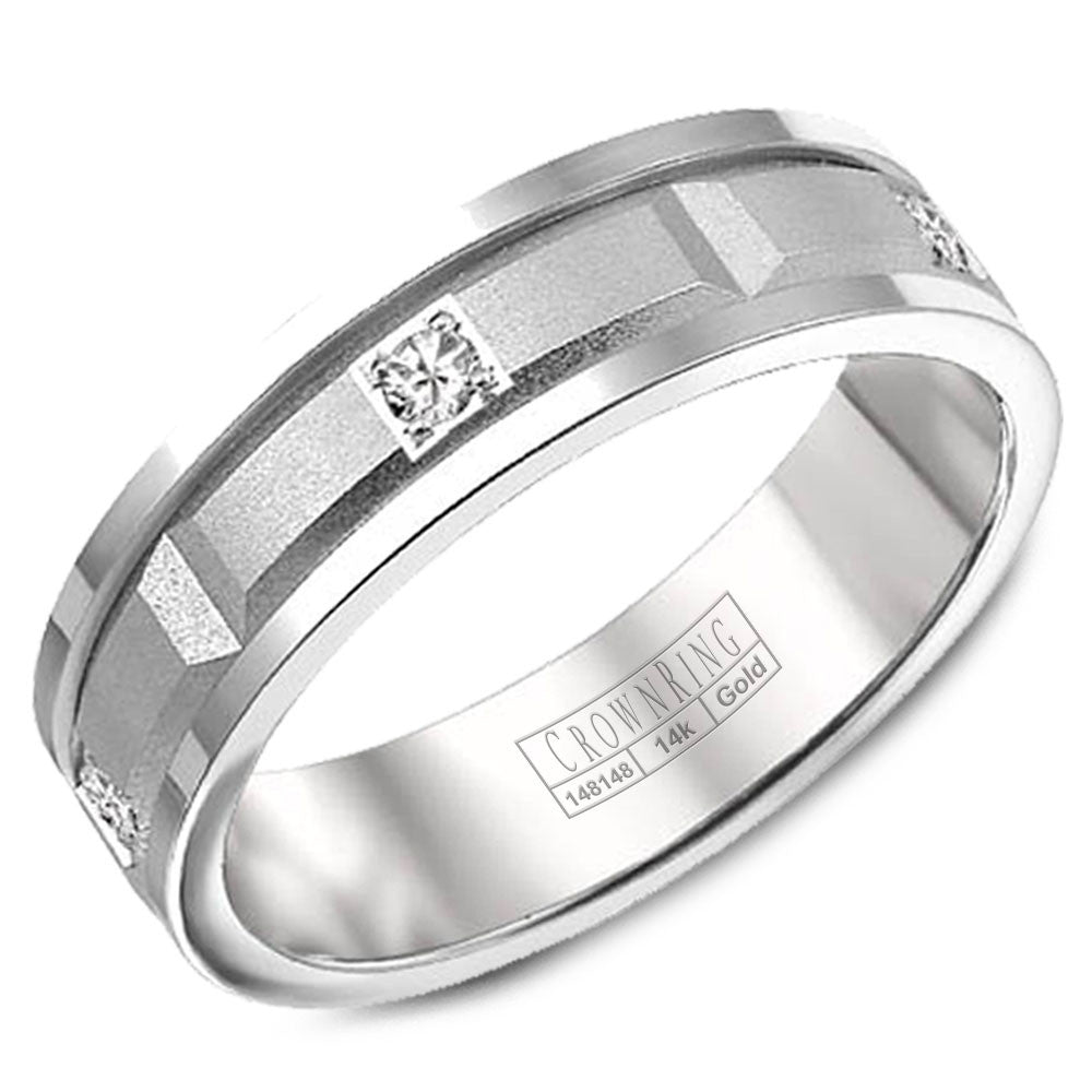 CrownRing Diamond Collection 6MM Wedding Band with 5 Round Diamonds and Sandpaper Center & Line Detailing WB-8204