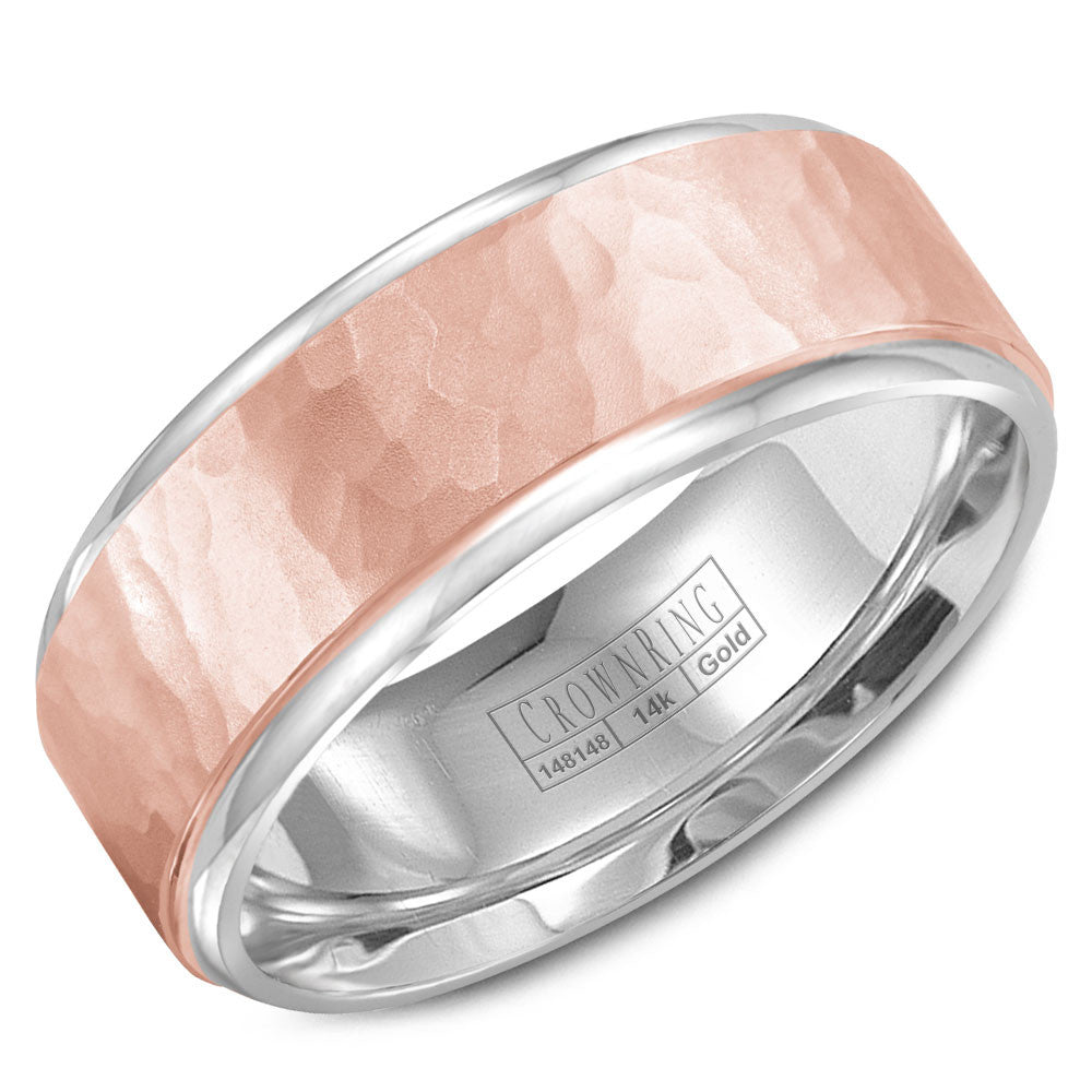 CrownRing Carved Collection 8MM White Gold Wedding Band with Rose Gold Hammered Center WB-9300RW