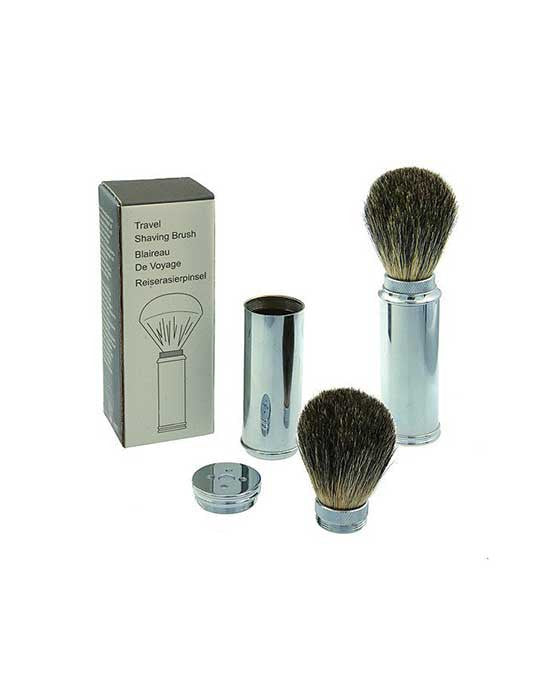 Travel Shave Brush, Brass with Badger Hair
