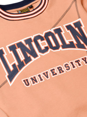 "Lincoln University Original '92 ""Frankenstein"" Crewneck Butter Rum/Navy"