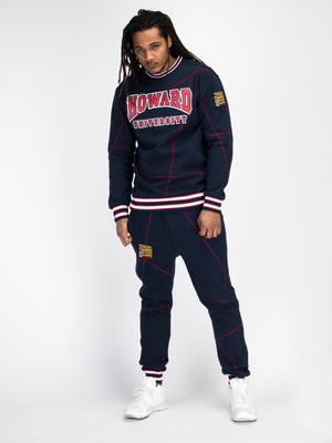 "Howard University Original '92 ""Frankenstein"" Crewneck Navy/Red"