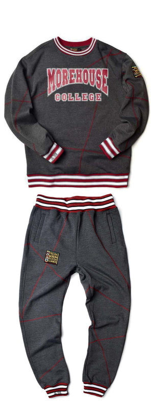 "Morehouse College Original '92 ""Frankenstein"" Crewneck Sweat Suit Charcoal Grey/Maroon"
