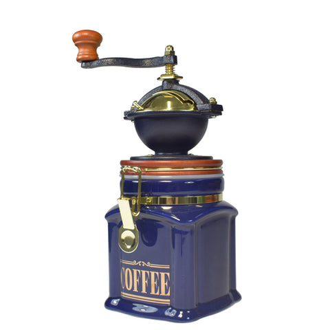 Bisetti ManualCoffee Grinder With Attached Blue Square Ceramic Storage Container
