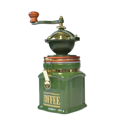 Bisetti ManualCoffee Grinder With Attached Ceramic Storage Container, Green