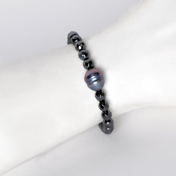 Fresh Water Pearl & Hematite Beads Stretch Bracelet