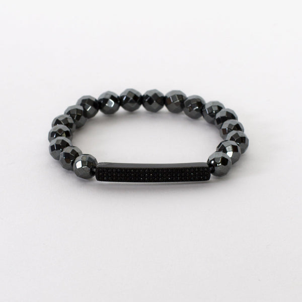 Hematite Bar Bracelet with Faceted Hematite Beads