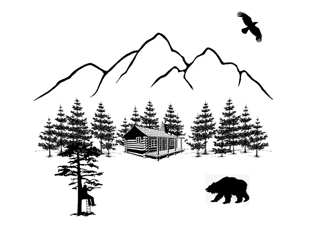 "Bear Hunting Lodge  4""   Black #536 Fused Glass Decal"