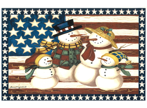 "Americana Snowman USA Flag Tray Size 11"" X 7"" Ceramic Decal # 318"