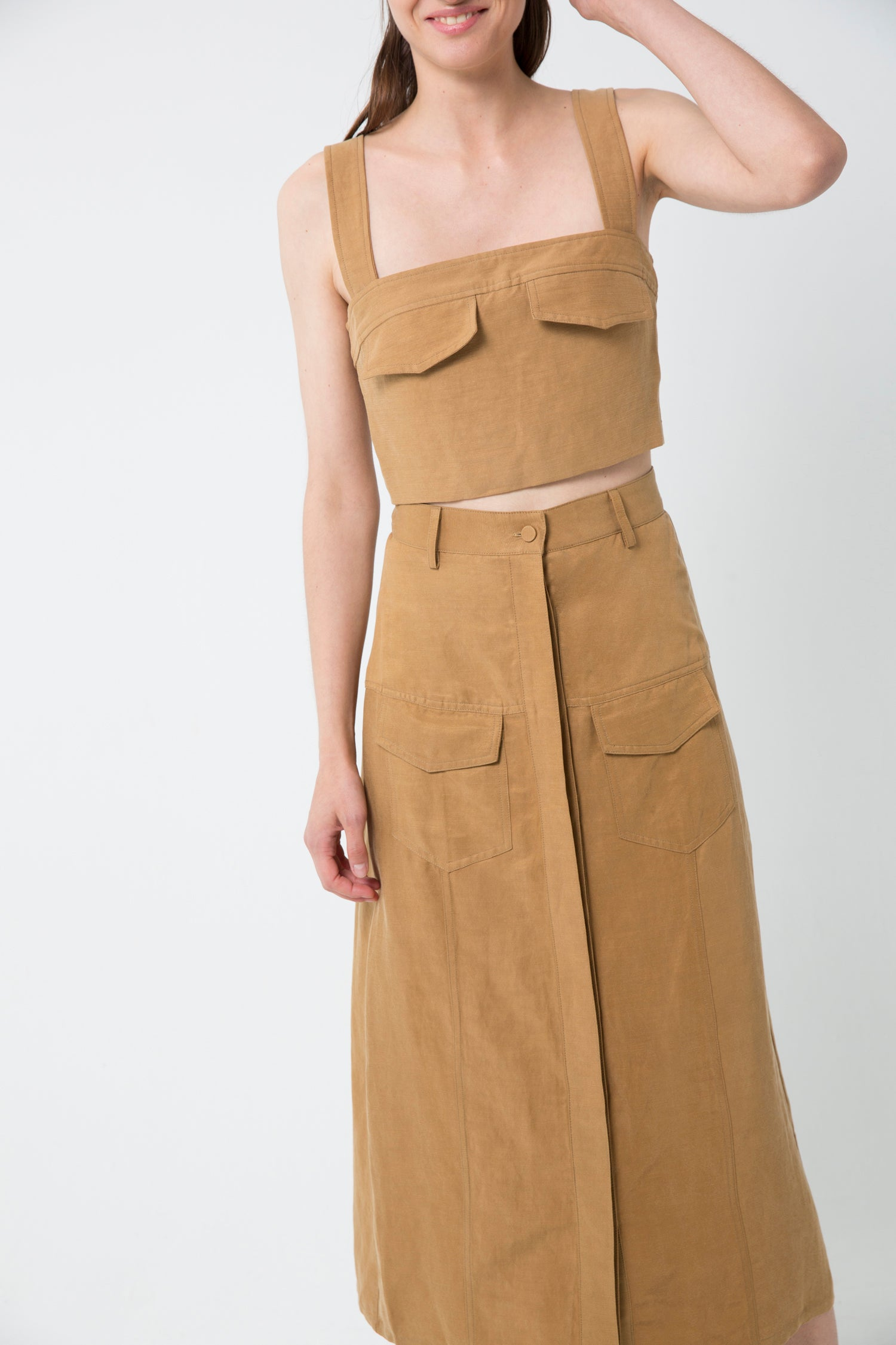 TRUCKER PANELED SKIRT  | CAMEL