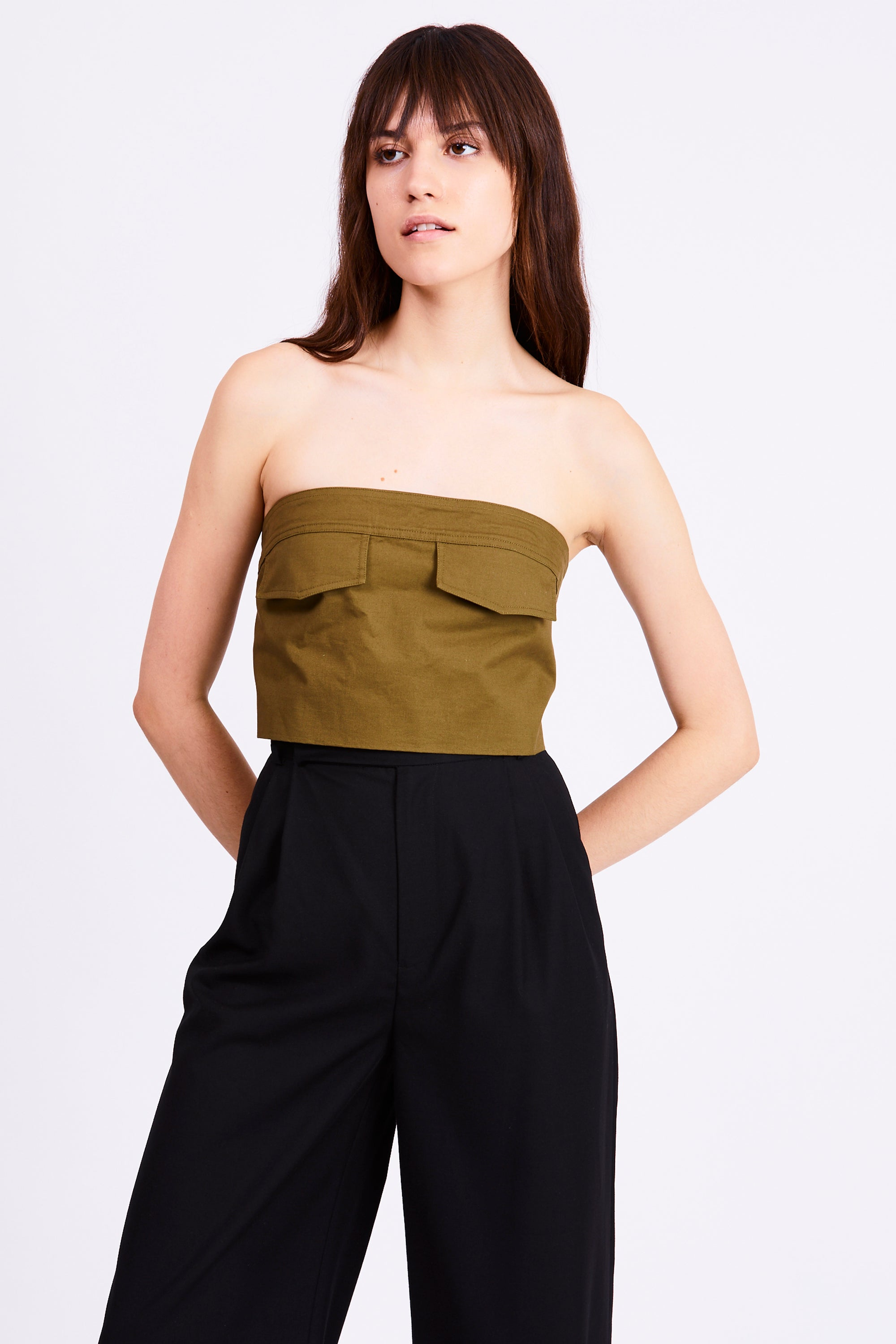 POCKET CROP TOP | ARMY