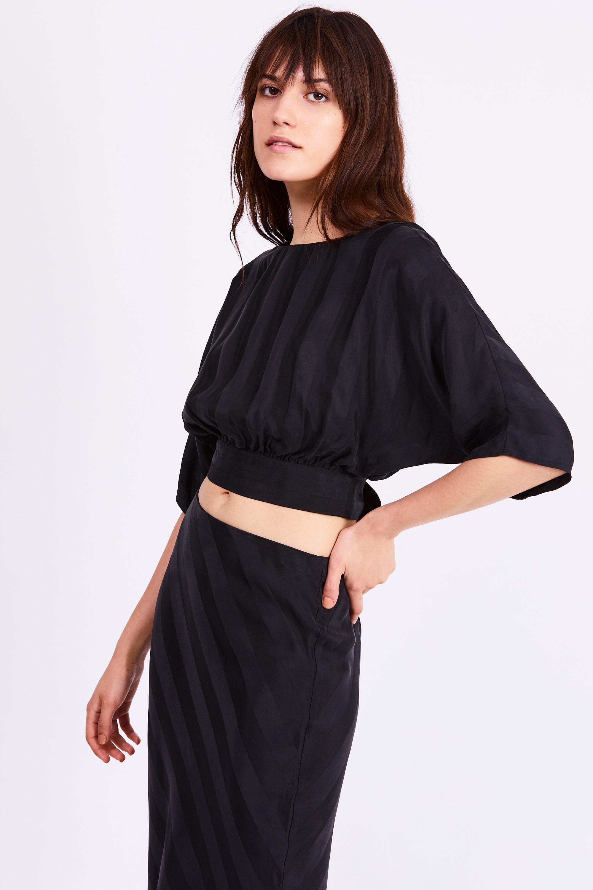 TIE BACK BLOUSE | BLACK STRIPE