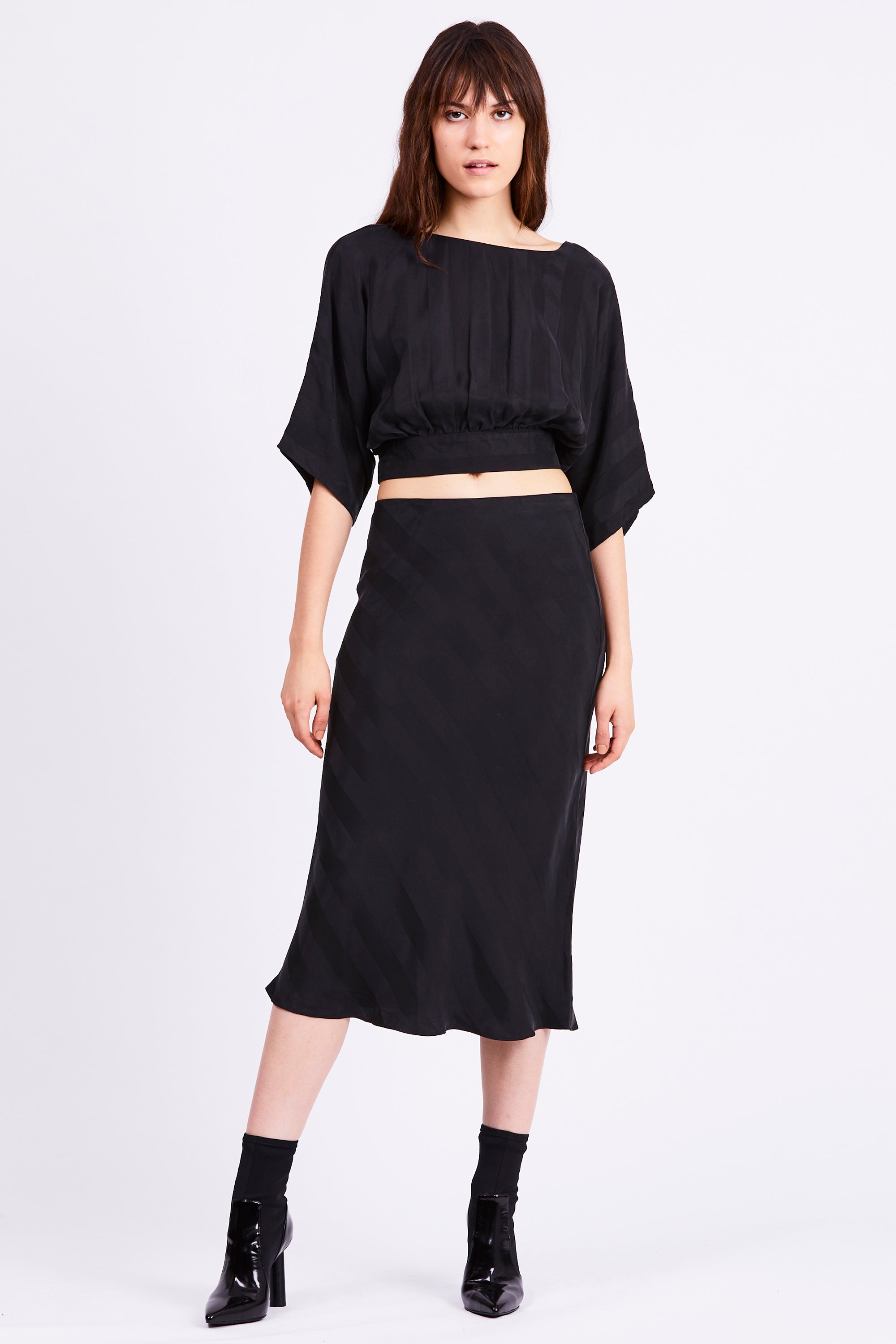 BIAS MIDI SKIRT | BLACK STRIPE
