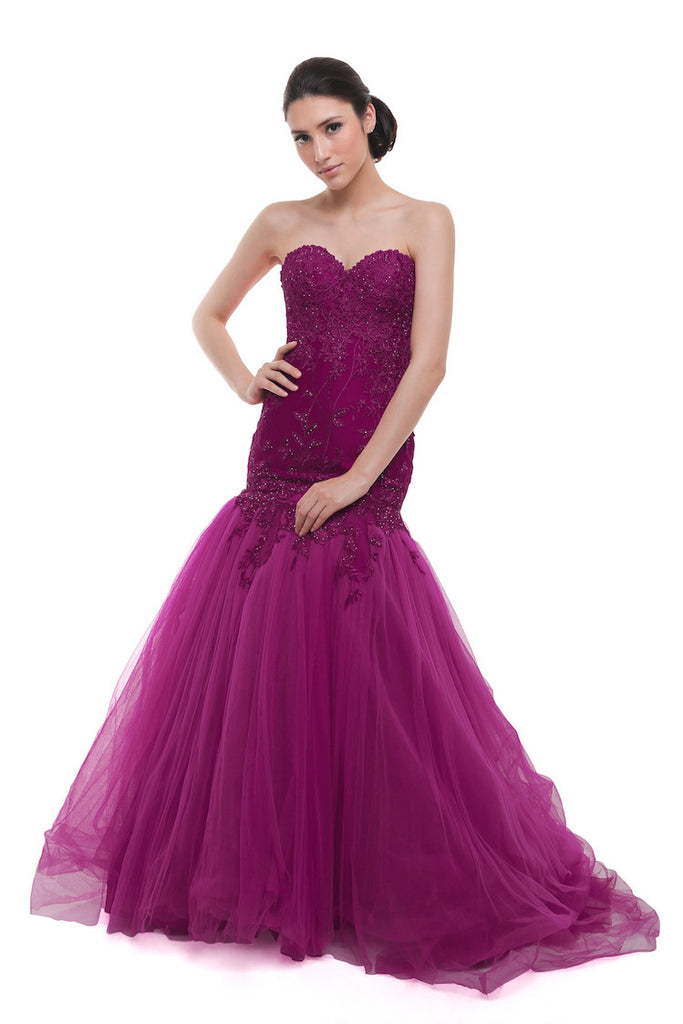 Angela Prisa - Buy: Fuschia Sweetheart Mermaid Tulle Gown-The Dresscodes - 1