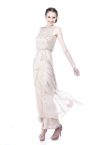 Rent: Aidan Mattox Cinched Waist Beaded Gown