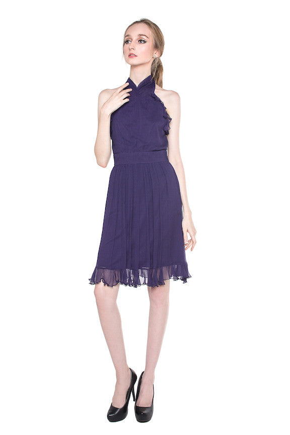 Max & Cleo - Rent: Max & Cleo Halter Chiffon Cocktail Dress-The Dresscodes - 1