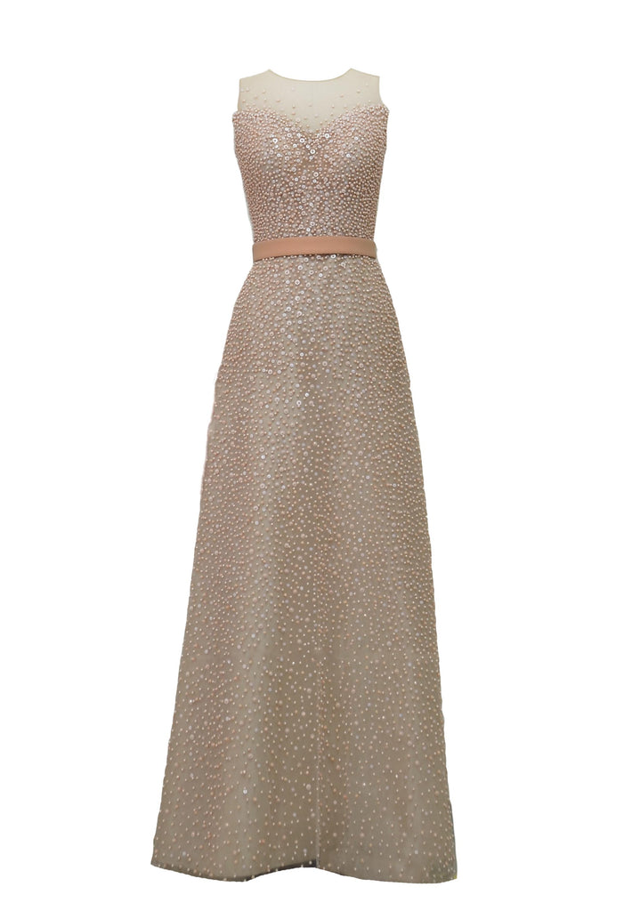 Rent: Yogie Pratama Fully Beaded Peach A-Line Gown
