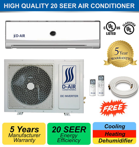 DUCTLESS MINI SPLIT A/C 18000 BTU 20 SEER DA-18HP220 (With Installation in Orange County, California) - d-airconditioning