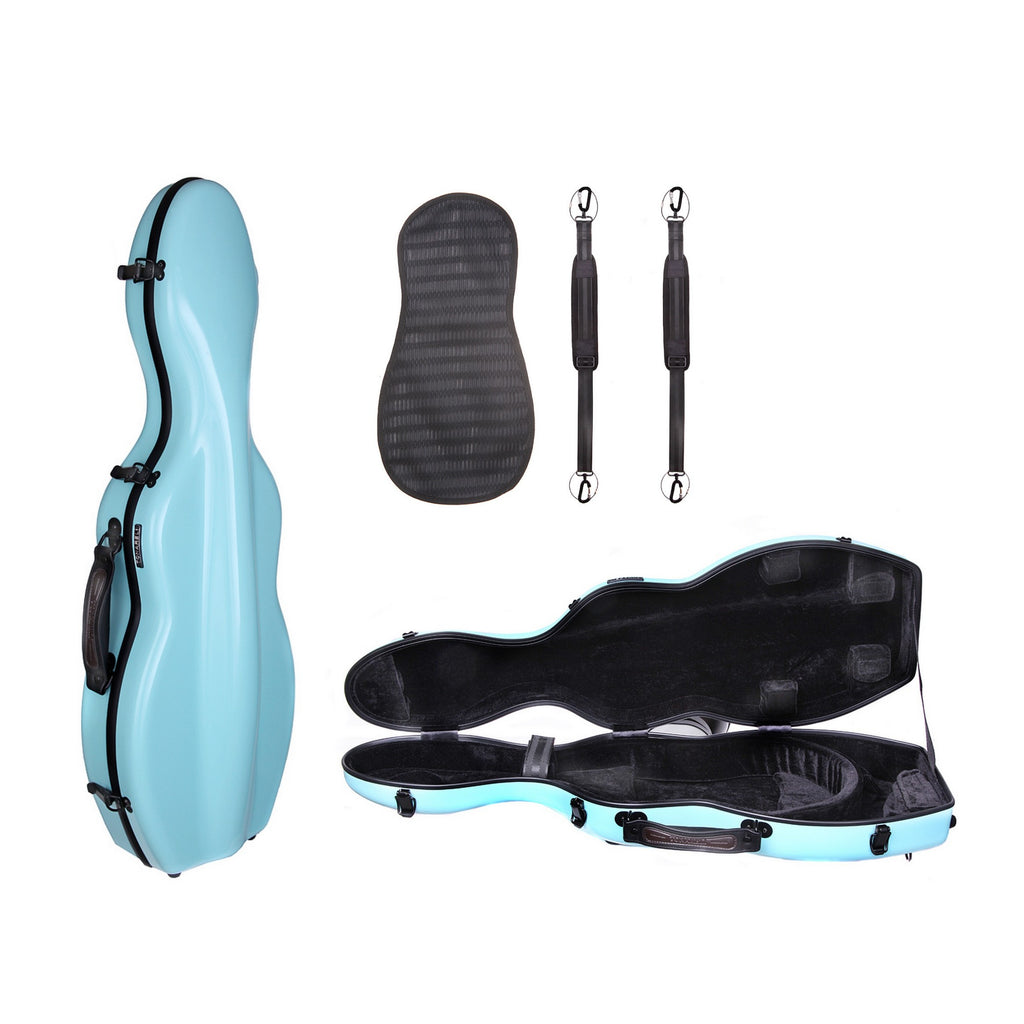Tonarelli violin case cello-shaped turquoise VNF1019