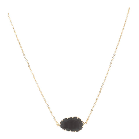 Elegant Gold Necklace With Grey Stone