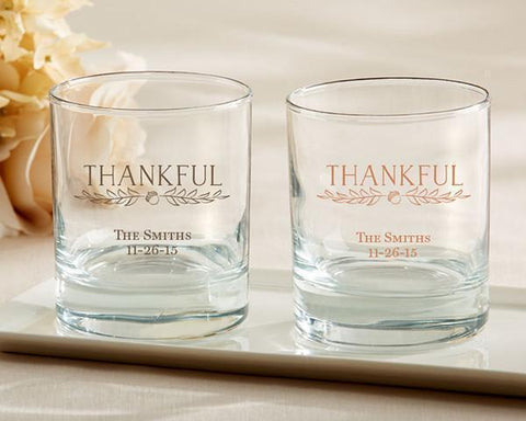 9 oz. Personalized Rocks Glass - Thankful (Set of 36)-Jubilee Favors