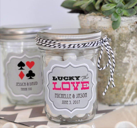 """A Lucky Pair"" Vegas Mini Mason Jars-Jubilee Favors"