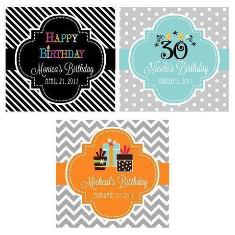 "Birthday 2"" Square Personalized Favor Labels & Tags-Jubilee Favors"