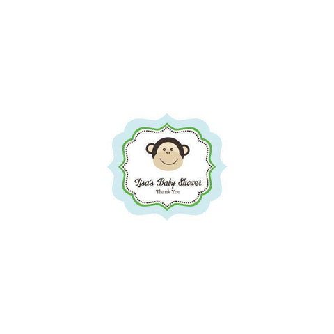 Blue Monkey Party Frame Personalized Labels-Jubilee Favors