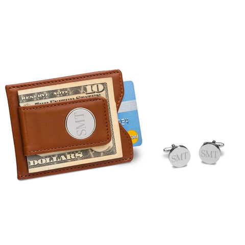 Brown Leather Wallet and Cufflinks Gift Set-Jubilee Favors