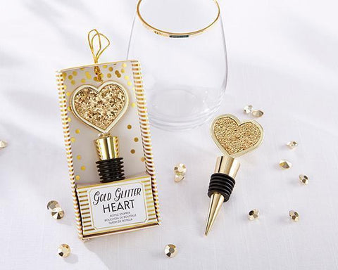 Gold Glitter Heart Bottle Stopper-Jubilee Favors