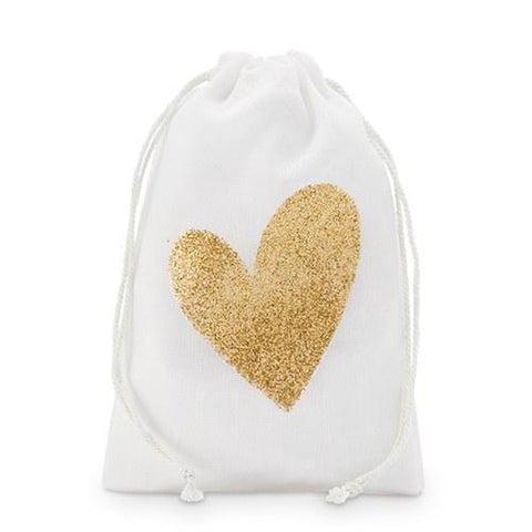 Gold Glitter Heart Muslin Drawstring Favor Bag - Medium (Set of 12)-Jubilee Favors