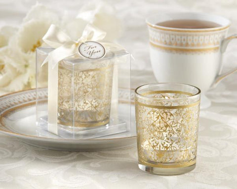 """Golden Renaissance"" Glass Tealight Holder (Set of 4)-Jubilee Favors"
