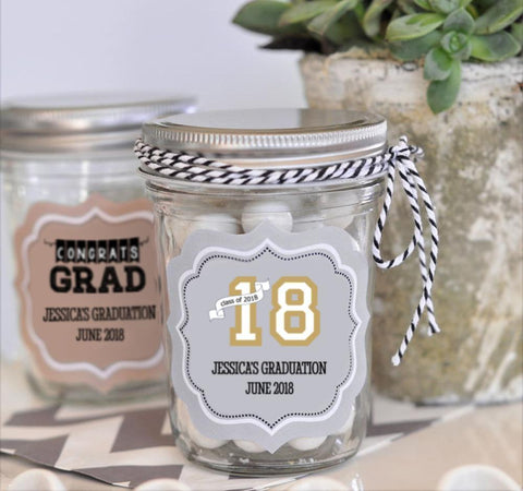 """Hats off to You"" Graduation Mini Mason Jars-Jubilee Favors"