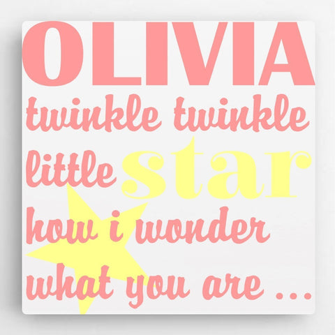 Kids Personalized Canvas Sign-Twinkle (Girl)-Jubilee Favors