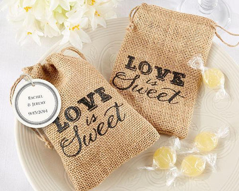 """Love is Sweet"" Burlap Drawstring Favor Bag (Set of 12)-Jubilee Favors"