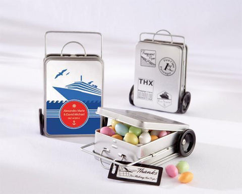 """Miles of Memories"" Suitcase Favor Tins (Set of 12)-Jubilee Favors"