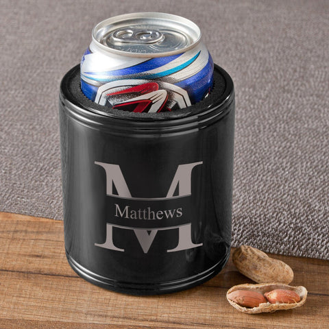 Monogrammed Black Metal Can Cooler-Jubilee Favors