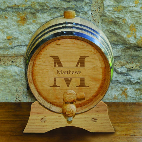 Monogrammed Oak Whiskey Barrel-Jubilee Favors